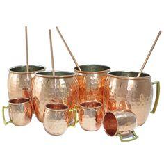 Amazon.com | DakshCraft ® Lacquered Finish Mug (Capacity 18 oz) with FREE Copper Shot Mug (Capacity - 2 oz pr shot mug) & Copper Straw, Set of 4: Glassware & Drinkware