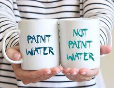 Unique Creative Gift Idea - Funny Coffee Mug Set - Funny Artist Mugs - Gift for Artist - Mug for Painter - Funny Paint Water Mugs - Tea Cups
