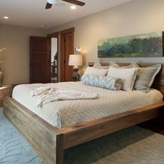 10 Rustic and Modern Wooden Bed Frames for a Stylish Bedroom : Awesome Wood Bed Frame In Contemporary Bedroom Design With Wooden Floor And Grey Rug Modern Wooden Bed, Modern Rustic Furniture, Wooden Bed Frames, Wood Beds, Rustic Wood Bed Frame, Timber Frames, Barn Wood Headboard, Simple Wood Bed Frame, Cool Bed Frames