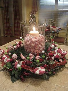 Christmas Candle Centerpiece with real peppermints! Great for the tables for the guests to have after meals!