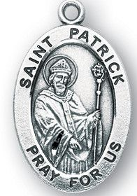 Sterling Silver Oval Shaped St. Patrick Medal by HMH | Catholic Shopping .com