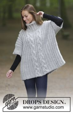 Winter Snuggle - Knitted jumper with high collar, cables and English rib. Sizes S - XXXL. The piece is worked in DROPS Eskimo. Free knitted pattern DROPS 181-18