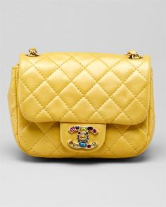Chanel Yellow Gold Jeweled Quilted Leather Flap Bag: Want it soooo bad. No I'm never get it, never, never gonna get it!