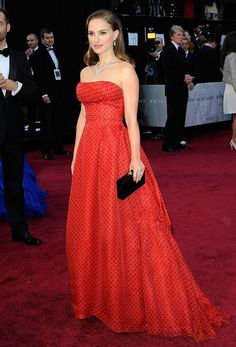 Natalie Portman at the 2012 Academy Awards: The actress wore a strapless vintage gown by Christian Dior.