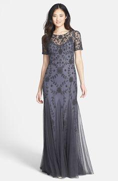 Gorgeous! Downton Abbey Fashion dress - Women's Adrianna Papell Beaded Mesh Illusion Gown