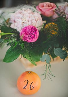 For a simple yet summery table number, handwrite it on a piece of fruit. Seating Plans, Wedding Table Numbers, Planer, Real Weddings, Wedding Planner, Centerpieces, Wedding Decorations, Table Settings, Reception