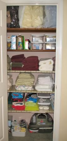 Organized Linen Closet Hall Closet Organization, Life Organization, Hallway  Closet, Closet Designs,