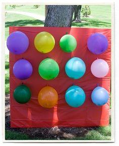 """Balloon """"Pinata"""" Board- Neat idea! Plus other Balloon party ideas- including a balloon relay race."""
