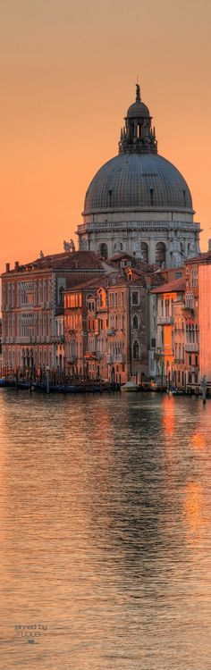 Sunrise at the Grand Canal and the Church of Santa Maria della Salute - Venice, . Sunrise at the Grand Canal and the Church of Santa Maria della Sal Places To Travel, Places To See, Places Around The World, Around The Worlds, Grand Canal, Photos Voyages, Italy Travel, Wonders Of The World, Beautiful Places