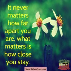 It never matters how far apart you are, what matters is how close you stay.  ‪#‎quotestoliveby‬ ‪#‎quotesonlife‬ ‪#‎quoteoftheday‬