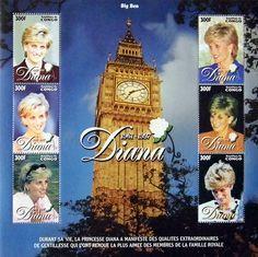 "Princess Diana ""Reflections"" Plate Block of 6 Issued by Congo, Diana - Princess of Wales 1961 - 1997 Princess Diana Dresses, Princess Diana Pictures, Princess Diana Family, Royal Princess, Spencer Family, Lady Diana Spencer, Congo, Big Ben, Commemorative Stamps"