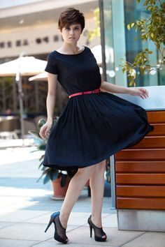Wedding Dress Knee Length Dress in Black Shortsleeve Cotton Cocktail Party Dress - NC120. $59.99, via Etsy.