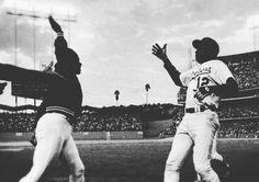 "THINK BLUE: First ""High Five"" occurred between Dusty Baker and Glenn Burke of the Los Angeles Dodgers in Dodger Stadium on October 2 1977.  #OpeningDay #HurryUpAlready #Dodgers #BaseballisLife #DodgerStadium #HeavenOnEarth #TrueBlue #HighFive  by davidrosalesmusic"
