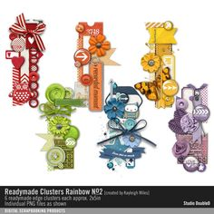 Readymade Clusters: Rainbow No. 02 scrapbooking elements clusters in a rainbow of colors #readymade #designerdigitals