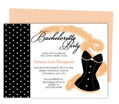 Printable Bachelorette Party Invitations Templates: Lacey Bachelorette Party Invitation Template
