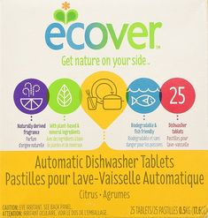 Ecover Naturally Derived Automatic Dishwasher Tablets, Citrus, 45 Count, Ounce: Dishwasher detergent that powers away stuck-on food and gets dishes sparkling clean using plant-based and mineral ingredients. Best Dishwasher Detergent, Dishwasher Tabs, Dishwashing Gloves, Natural Kitchen, 6 Pack, Fresh, Spring Cleaning, Cool Kitchens, Biodegradable Products