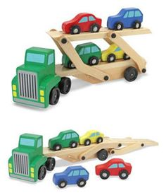Wooden play set with a truck that picks up and delivers four colorful cars. Cars compatible with all standard wooden train tracks. Easy-load and lower ramps provide two levels for the vehicles. Melissa & Doug Car Carrier Truck and Cars Wooden Toy Set With 1 Truck and 4 Cars  toys4mykids.com