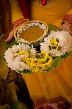 Patral chya panacha base..... Arrangement for haldi thali