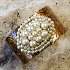 Etched Brass Cuff with Vintage Faux Pearl and Rhinestone Centerpiece