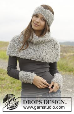 """Knitted DROPS head band, neck warmer and wrist warmers in garter st in """"Puddel"""". ~ DROPS Design"""
