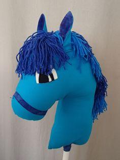 Tête de cheval en tissu bleu à chevaucher : Jeux, jouets par marcelyn