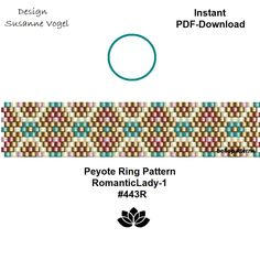 peyote ring pattern pdf,PDF-Download, instant download,ring #443R,2 variants, beading pattern, beading tutorials, ring pattern,pdf von bellepatterns auf Etsy