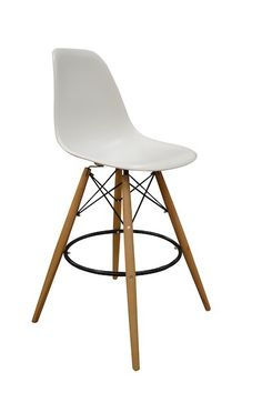 Funky Wooden Leg Charles Eames White Bar Stool