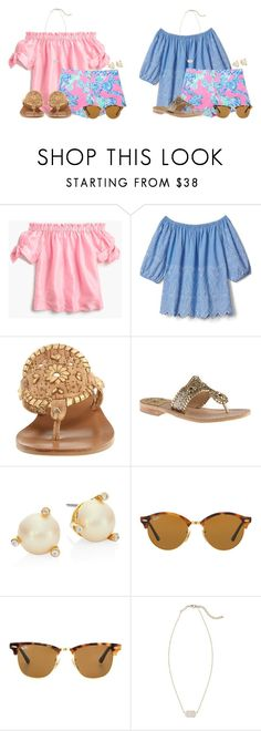 """How would you wear these Lilly shorts??"" by flroasburn ❤ liked on Polyvore featuring J.Crew, Lilly Pulitzer, Gap, Jack Rogers, Kate Spade, Ray-Ban and Kendra Scott"