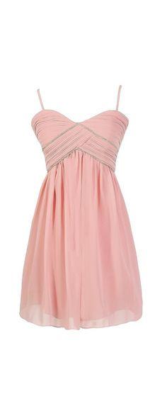 This Magic Moment Embellished Designer Dress in Pale Pink $70