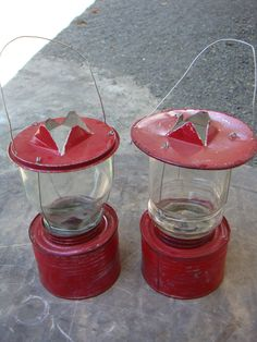 Lamps from jelly jars and tin cans