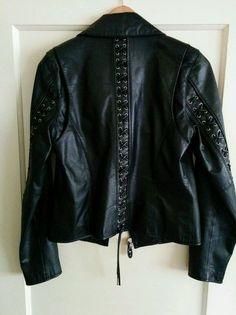 Harley Davidson women's black leather lace up jacket #HarleyDavidson #Motorcycle