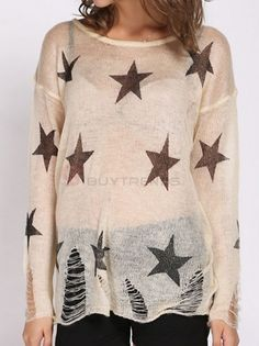 Fabulous O-Neck Full Sleeve Star Printed Hollow Out Loose Knitted Pullover Sweater For Women on buytrends.com