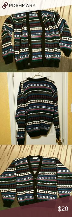 Vintage Oversized cardigan 80's jewel tones Size Mens S, but check measurements.  It has the dolman sleeves so it fits larger than modern cardigans. I would say womens L-XL. Super good condition soft and comfy ND warm. Not. Itchy. :) New Era Sweaters Cardigans
