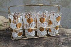 Vintage Mid Century Modern Gold and White Glasses Set of 8 Cocktail, Ice Tea…