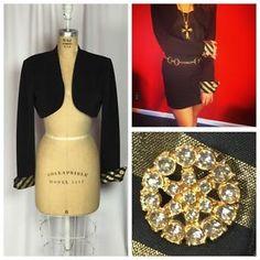 Vintage Cach'E Black Gold Foil Striped Cuff Bolero Jacket 7 8 | eBay