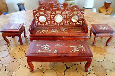 Chinese Miniature 1 12 Asian Rose Wood Dragon Furniture Inlaid Sofa Bench Table | eBay