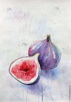 sketches of love Watercolor Fruit, Fruit Painting, Watercolor Drawing, Watercolor Illustration, Painting & Drawing, Watercolor Paintings, Watercolors, Painting Inspiration, Art Inspo