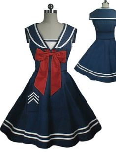Rockabilly Sailor Swing Dress by Amber Middaugh Cute Baby Dresses, Nice Dresses, Casual Dresses, Fashion Dresses, Harajuku Fashion, Lolita Fashion, Girl Fashion, Fashion Design, Vintage Dresses