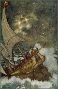 William Shakespeare - The Tempest, illustrated by Edmund Dulac Robin Hobb, Children's Book Illustration, Botanical Illustration, Art Illustrations, Tornados, Edmund Dulac, Arabian Nights, Chinese Art, Chinese Painting