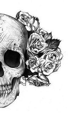 Skull with roses tattoo design. | Tattoos | Pinterest