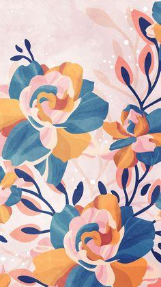 Graphic Wallpaper, Iphone Background Wallpaper, Aesthetic Iphone Wallpaper, Aesthetic Wallpapers, Cute Wallpaper Backgrounds, Pretty Wallpapers, Flower Wallpaper, Pattern Wallpaper, Illustrations