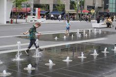 Playful jets in Place des Festivals, Montreal, Quebec