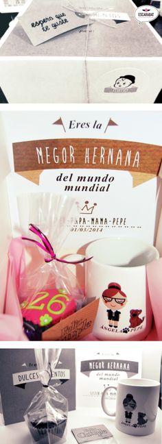 Cajita de regalo especial #cumpleños de MIMO, con una taza, postal, velitas y una deliciosa #muffin de Mi Dulce Magdalena