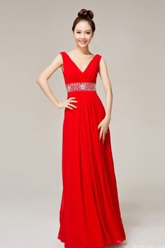 Simple Cheap V-neck Red Chiffon Evening Dress