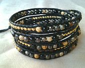 Pyrite and agate mix, handcrafted wrap leather bracelet,Chan luu inspired, beaded leather wrap bracelet