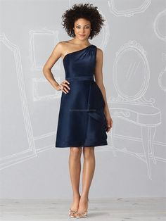 One Shoulder A-Line Navy Organza Cheap Cocktail Dresses