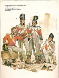 1815  Soldiers.  1st Regiment of Foot Guards, British.                               suzilove.com