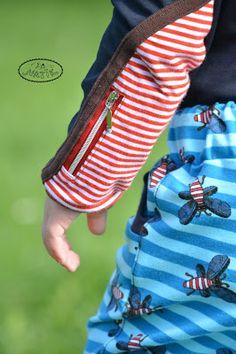 allerleikind.blogspot.de Langarmshirt mit  Reißverschlusstasche in Armpatch