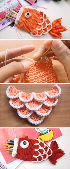 What do you guys think? I think that it is extremely cute and interesting crochet project. You can learn how to crochet the drawstring fish pouch with the help of the step by step instructions Crochet Diy, Crochet Amigurumi, Love Crochet, Crochet Gifts, Crochet Mermaid, Crochet Ideas, Crochet Cord, Easter Crochet, Crochet Christmas