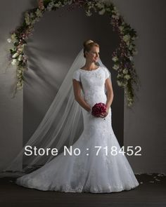 >> Click to Buy << Custom Wedding Dress Appliques Trumpet High Neck Short Sleeve Appliques White Organza Free Shipping NW242 #Affiliate
